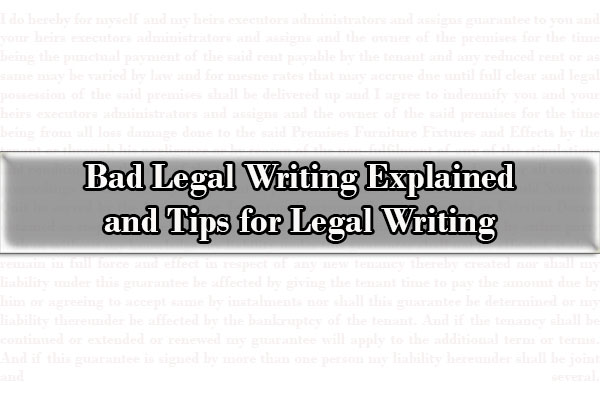 Bad legal writing, Tips for Legal Writing